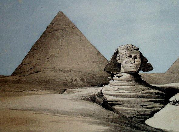 Гравюра Пирамида Хеопса и Сфинкс, 1839 год