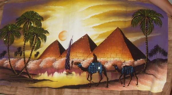 """Это из современной живописи. Кочевники у пирамид. Настоящий папирус: ужасно пахнет немытым верблюдом. Всего 30 долларов в магазинчике на Шератоне рядом с супермаркетом """"Метро""""."""