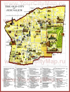 Карта Старого города: Иерусалим