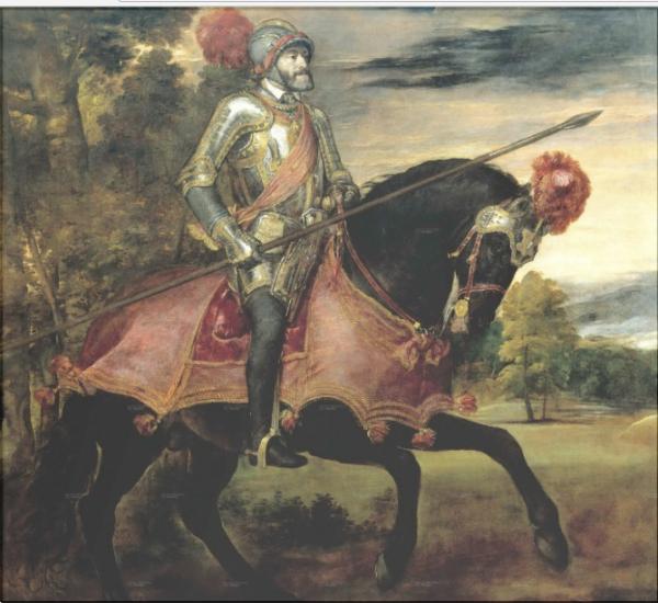 Император Карл V верхом на лошади в Мюльберге Тициан